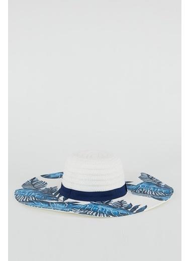 DeFacto Desenli Hasır Şapka Lacivert